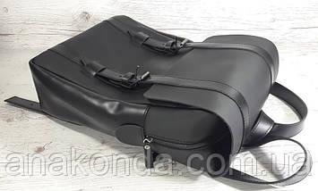 451-1 Натуральная кожа, Рюкзак городской для ноутбука 17 /мужской/унисекс/дорожный, черный, ремни кожа, фото 2