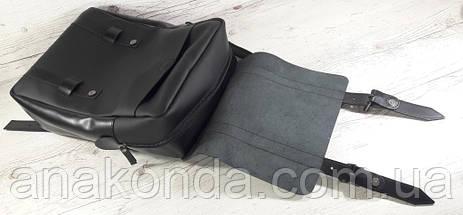 451-1 Натуральная кожа, Рюкзак городской для ноутбука 17 /мужской/унисекс/дорожный, черный, ремни кожа, фото 3