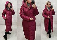 Зимняя куртка пуховик Oversize, артикул 521, цвет марсала, фото 1