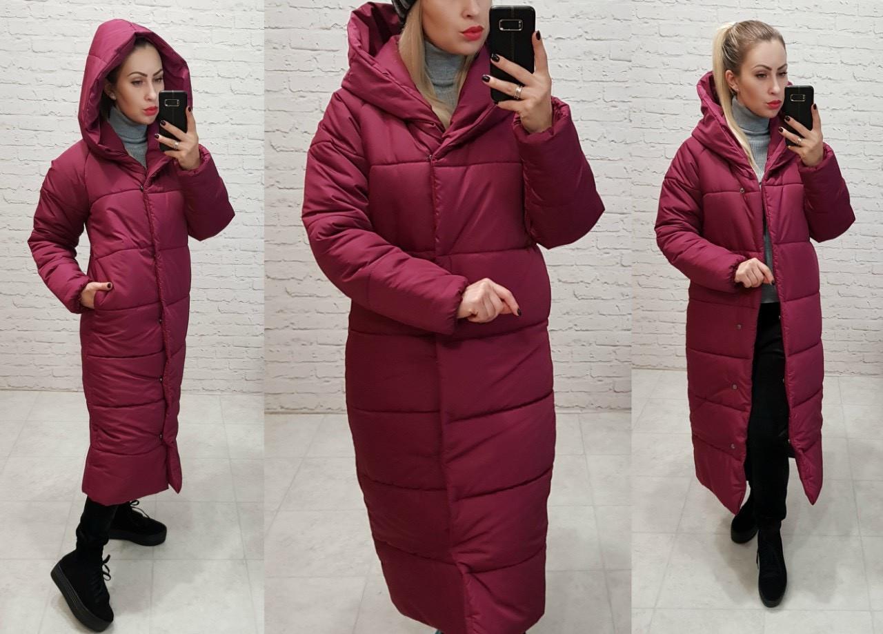 Зимняя куртка пуховик Oversize, артикул 521, цвет марсала
