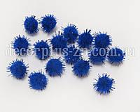 Помпоны люрекс 1.5 см, синие (10шт)