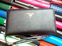 Кошелек черный Prada 114680 женский в виде барсетки кожзам, фото 1