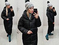Зимова куртка пуховик Oversize, артикул 521, колір чорний, фото 1