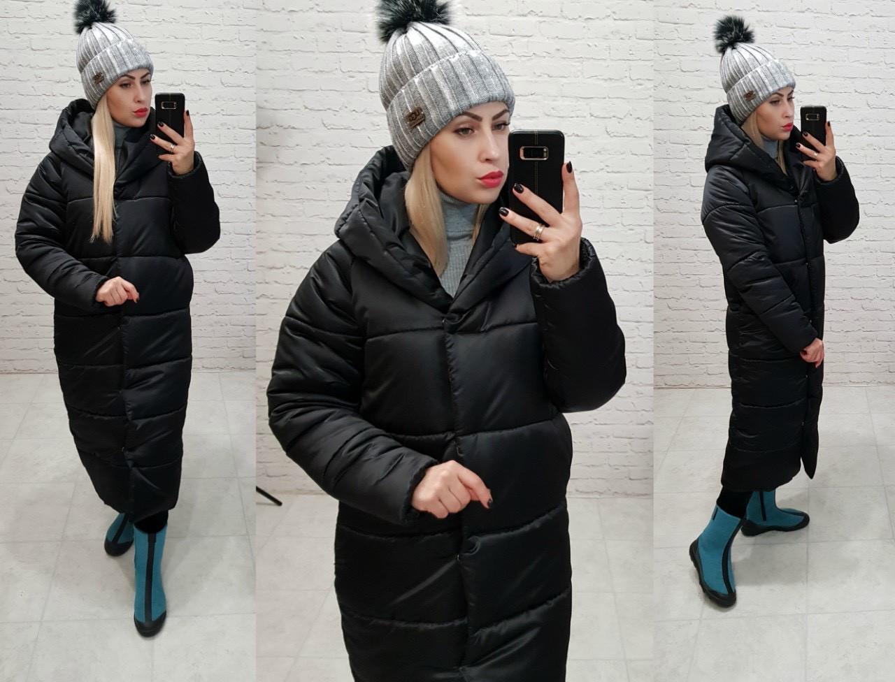 Зимова куртка пуховик Oversize, артикул 521, колір чорний