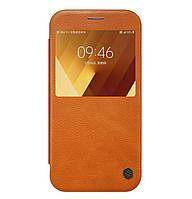 Кожаный чехол-книжка (с окошком) Nillkin Qin Series для Samsung Galaxy A5 (2017) SM-A520 Brown
