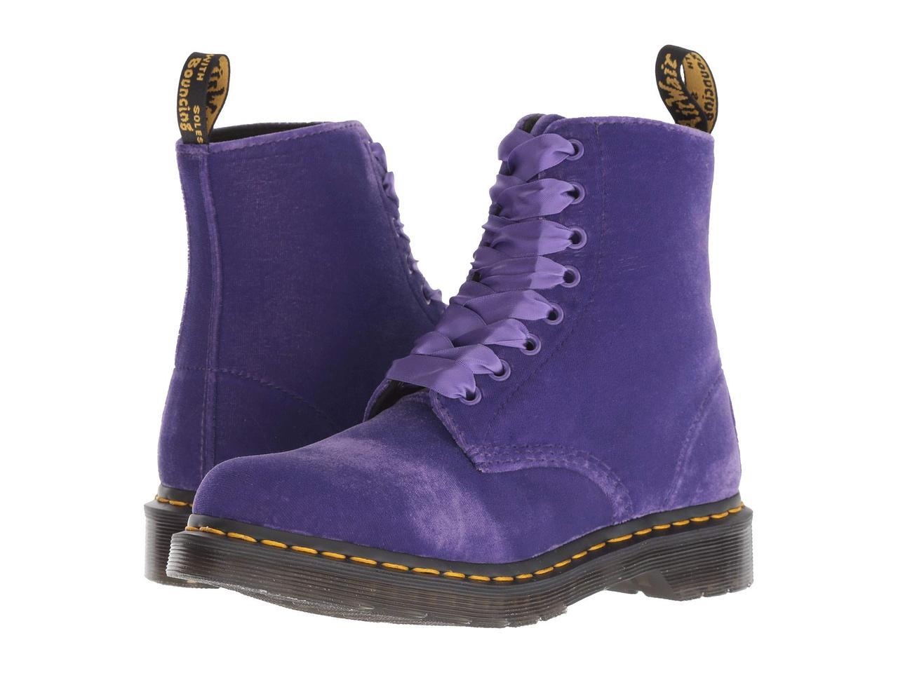 Ботинки Сапоги (Оригинал) Dr. Martens 1460 Pascal Velvet Dusty Violet Velvet 9510896aa0d74
