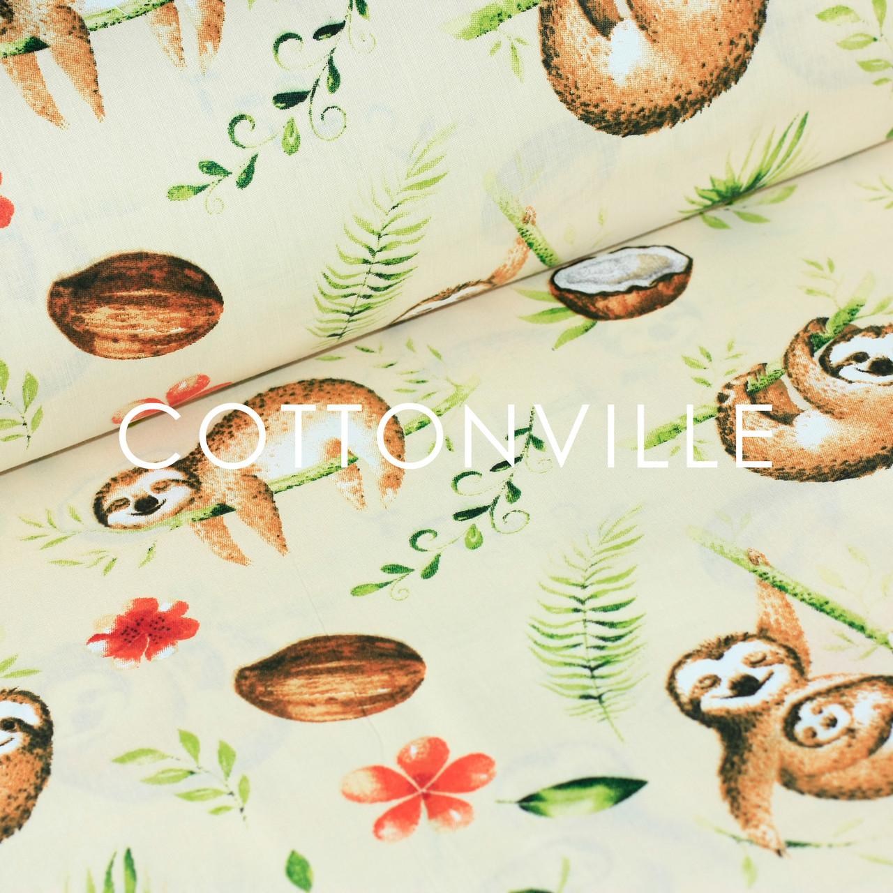 ✁ Отрезы хлопковой ткани Ленивцы кремовый фон