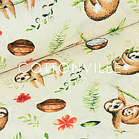 ✁ Отрезы хлопковой ткани Ленивцы кремовый фон, фото 1