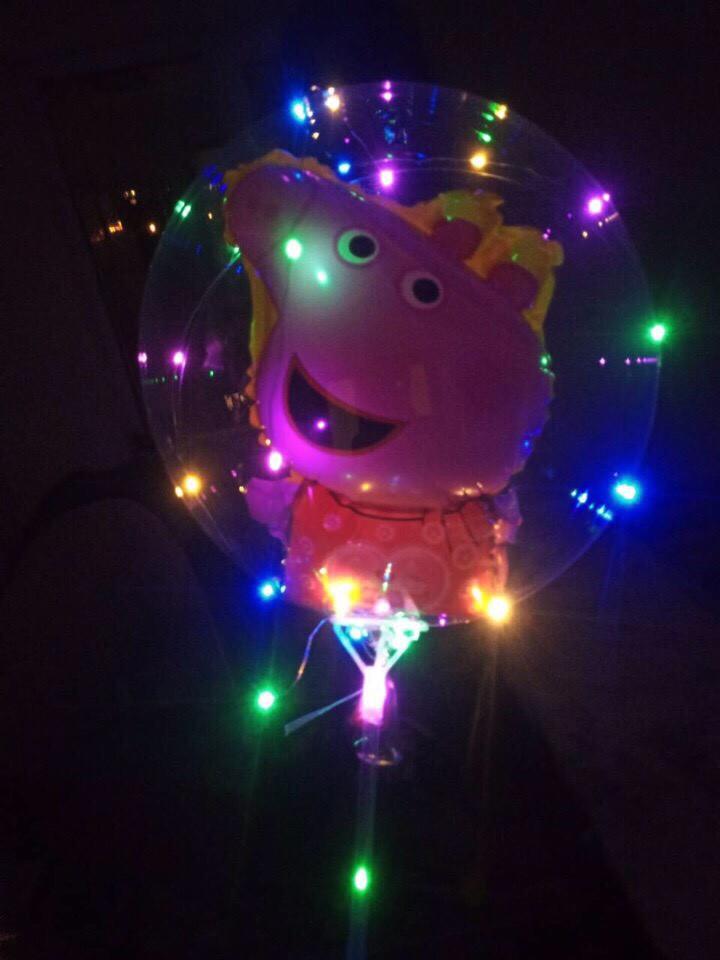 """Светодиодный шар бобо bobo 19"""", Воздушный светящийся на палочке с гирляндой и животными в комплекте"""