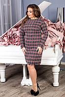 ,Платье батальное короткое в клетку 189, фото 1