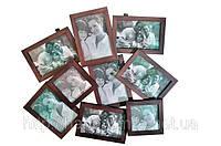 Рамка для фото семейная на 9 фото (дерево)
