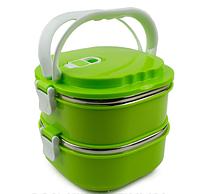Пищевой термос судочек 2 х уровневый / Ланч бокс Empire EM1519, зеленый