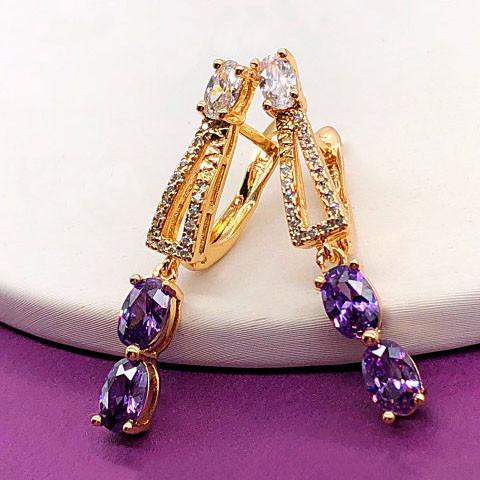 """Серьги XUPING """"Грация"""", фиолетовые, медицинское золото, позолота 18К, английский замок"""
