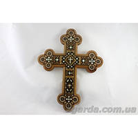 Крест настенный деревянный с элементами метала