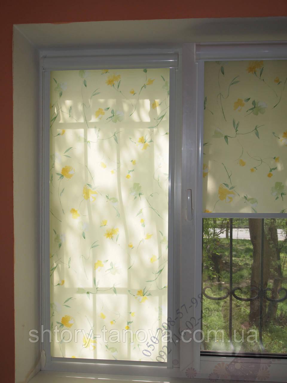 Рулонные шторы розы салатовые