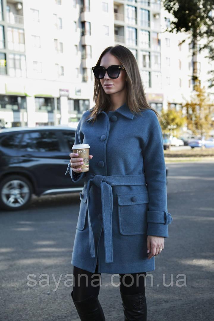 Женское пальто с поясом из кашемира в расцветках. В-1-1118