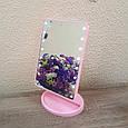 Зеркало косметическое с LED-подсветкой Magic (розовое) 22 диода + USB, фото 2