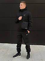 Комплект мужской ЗИМНИЙ: анорак + штаны + БАРСЕТКА В ПОДАРОК, черный