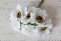 Декоративные цветы (маки) диаметр 5 см, 6 шт/уп, белого цвета, фото 1