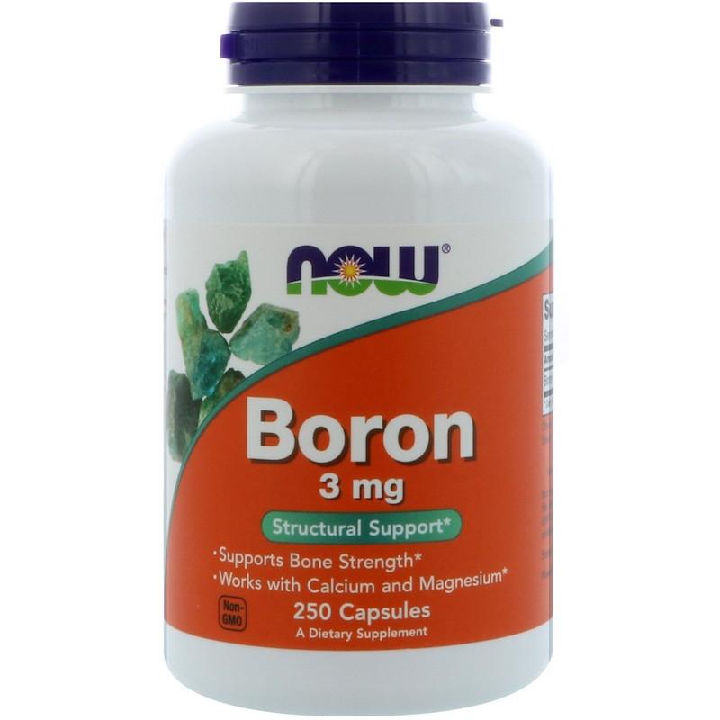 Минералы NOW Boron 3 mg 250 caps, НАУ Бор 3 мг 250 капсул