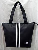 Cумка Adidas 012570 малая черная женская спортивная эко-кожа белые полосы размер 34 см х 30 см х 13 см.