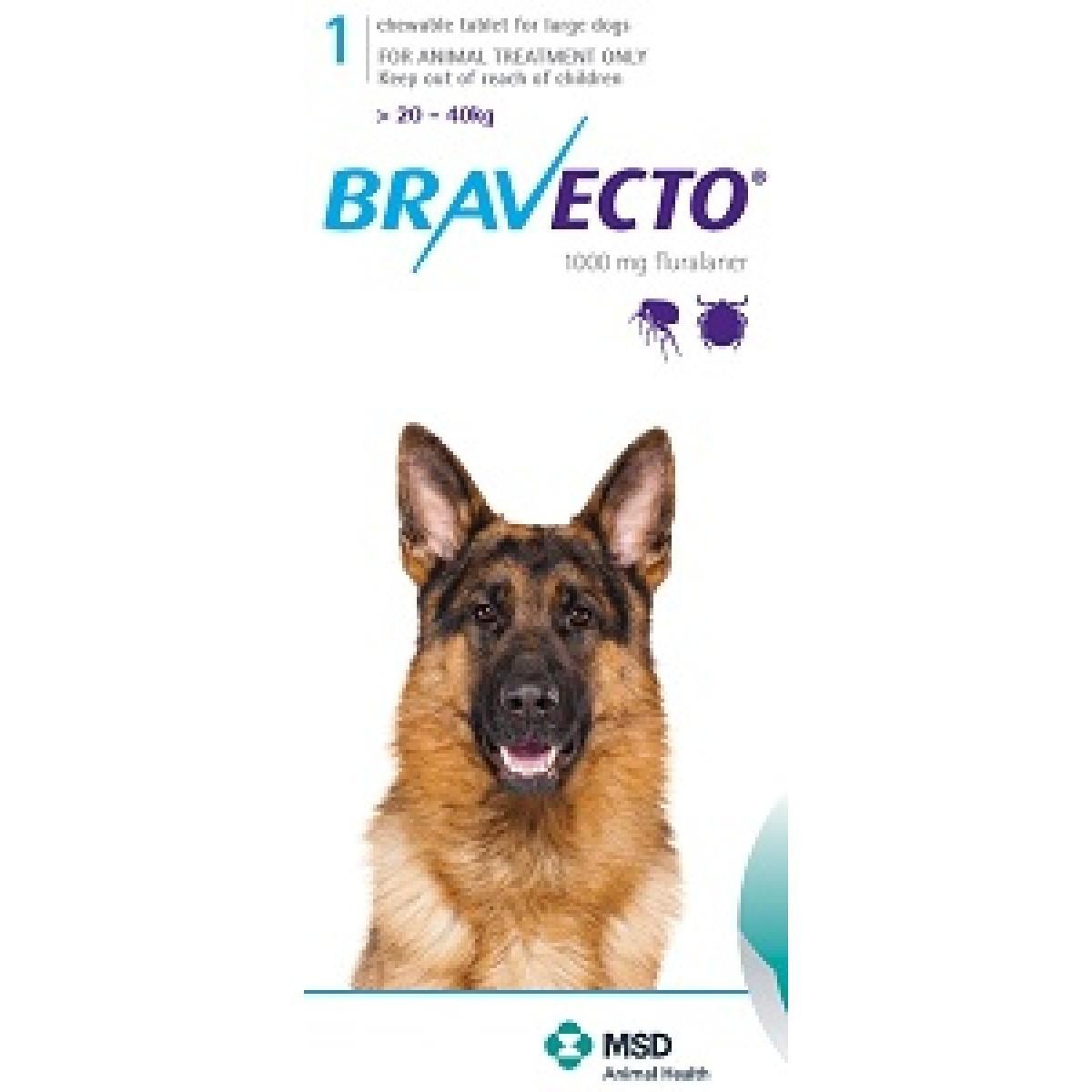 BRAVECTO БРАВЕКТО таблетки от блох и клещей для собак весом от 20 до 40 кг