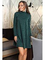 Теплое ангоровое темно зеленое платье-трапеция под горло