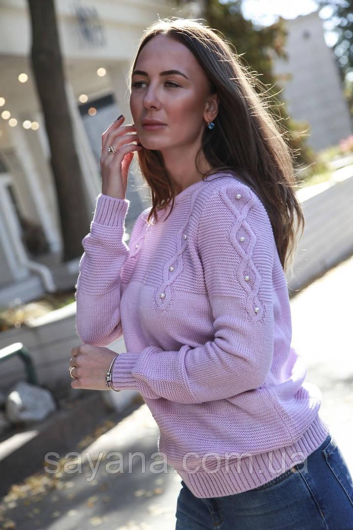 Женский свитер с узором и декором в расцветках. В-9-1118