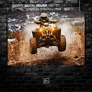 "Плакат ""Квадроцикл, Гонщик в прыжке на мотокроссе"". Размер 60x42см (A2). Глянцевая бумага"