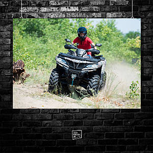 Постер Квадроцикл, четырёхколёсный мотовездеход, мотовездеход, мотокросс, суперкросс, эндуро, quad bike. Размер 60x43см (A2). Глянцевая бумага