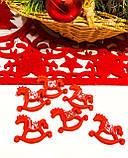 Новогодний декор лошадка качалка, рождественский декор 6 шт., фото 4