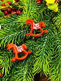 Новогодний декор лошадка качалка, рождественский декор 6 шт., фото 5