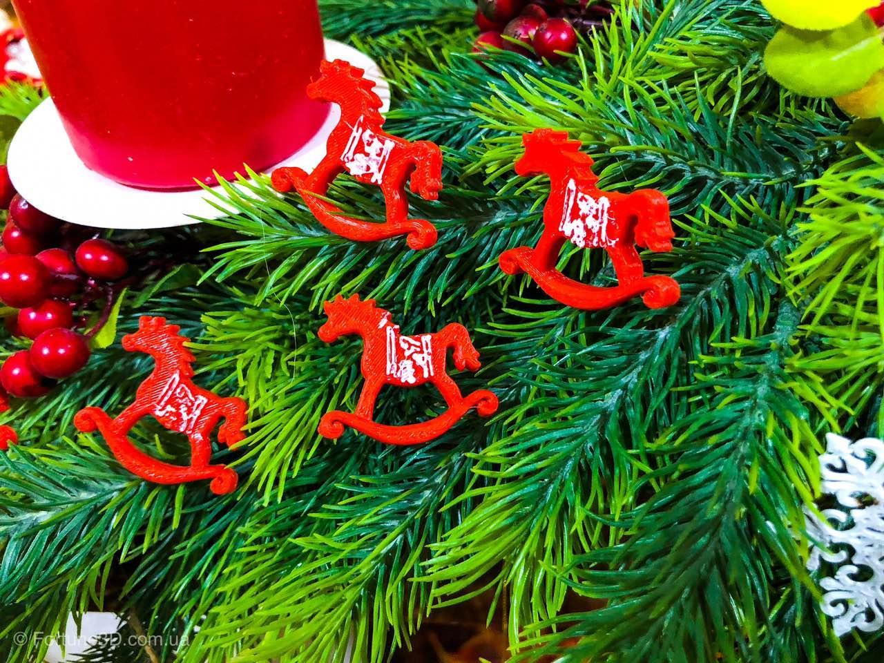 Новогодний декор лошадка качалка, рождественский декор 6 шт.