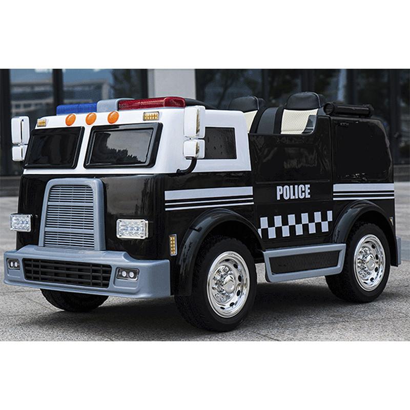 Детский двухместный электромобиль M 3828 EBLR-2 Полиция: 4 мотора, 12V 10A, EVA-колеса, Черный-купить оптом