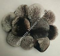 Меховой бубон(помпон) из кролика Мышиный 8-10 см