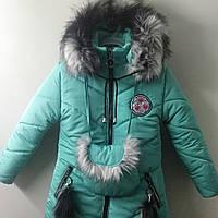 Куртка - пальто девичье зимнее на подстёжке. Бирюзового цвета. Размеры: 110-128.