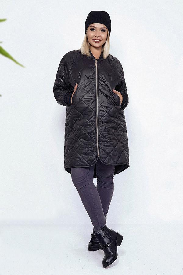 4c9e4bdb101 Женская стильная куртка на синтепоне в больших размерах 1686-1
