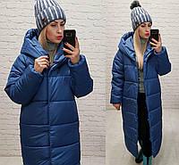 Длинная зимняя куртка с капюшоном арт. М521 синий/ синего цвета