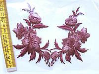 """Аплікація вишивка клейова парна """"Квіти"""", 12 см ,1пара, фіолетово-сливовий"""