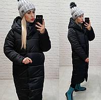 Куртка зимняя длинная очень теплая с капюшоном арт. М521 черная