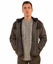 Кофта спортивная мужская на меху с капюшоном и со вставкой плащевки, фото 3