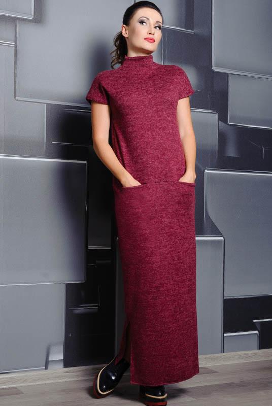 Ангоровое платье Нинель, бордовое