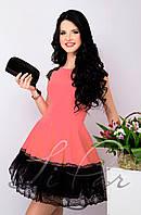 (671) Вечернее платье с пышной юбкой Коралл 46