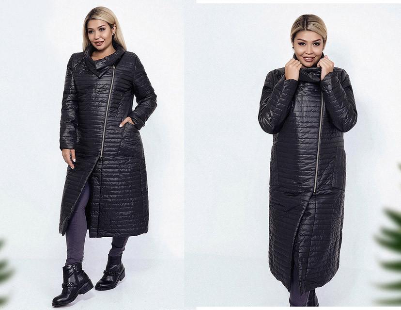 """Женское стильное пальто на синтепоне в больших размерах 1690-1 """"Косуха Миди Стёжка Полоска"""""""