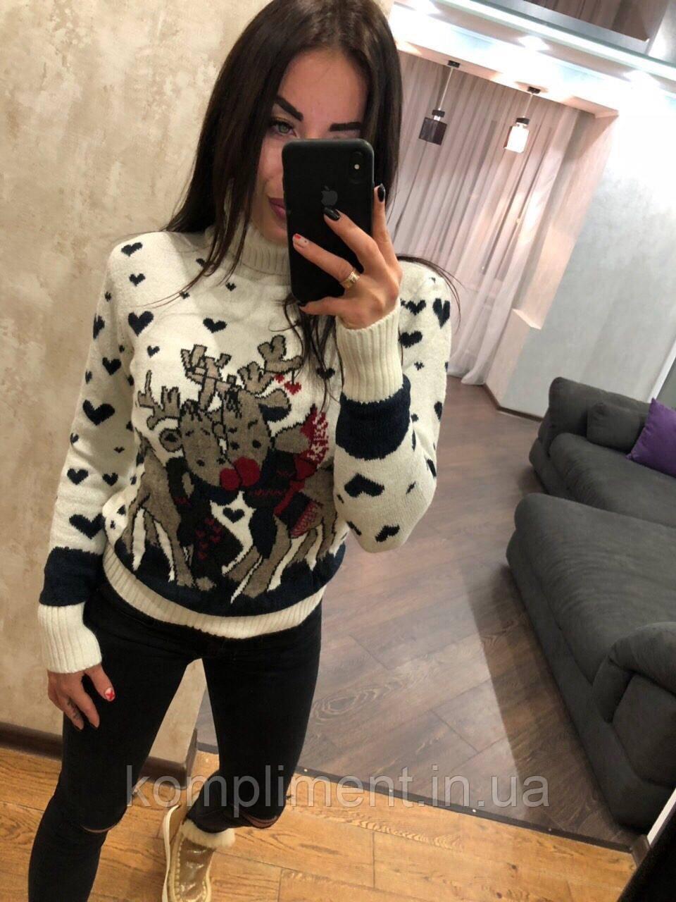 Теплий жіночий в'язаний светр під горло,білий.Виробництво Туреччина.