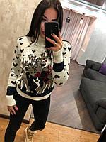 Теплий жіночий в'язаний светр під горло,білий.Виробництво Туреччина., фото 1