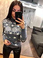 Вовняний жіночий в'язаний светр з малюнком зірочка,блакитний.Туреччина, фото 1