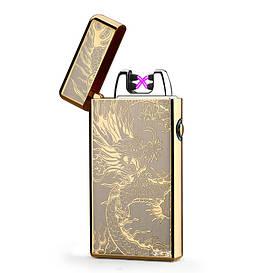 Электроимпульсная USB зажигалка золотая с гравировкой дракона с двойной электро дугой в подарочной коробке