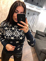 Вовняний жіночий в'язаний светр з малюнком зірочка,синій.Туреччина, фото 1
