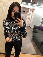 Теплий жіночий в'язаний светр з малюнком,темно синій.Туреччина, фото 1